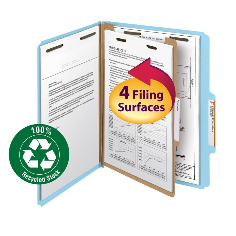 "Smead 100% Recycled Pressboard Classification Folder, 1 Divider, 2"" Expansion, L"