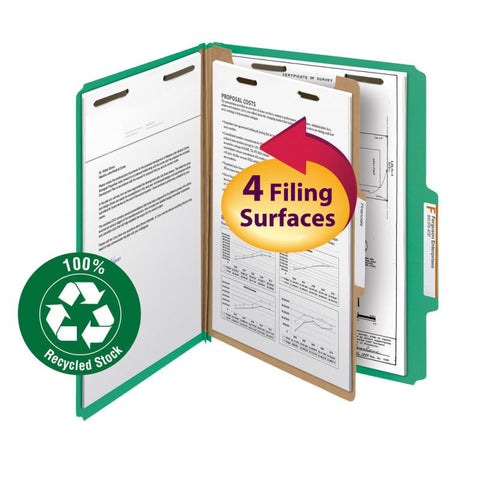 "Smead 100% Recycled Pressboard Classification Folder, 1 Divider, 2"" Expansion, Letter Size, Green, 5 per Pack (13749)"