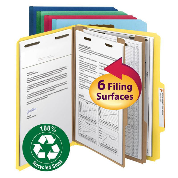 "Smead 100% Recycled Pressboard Classification Folder, 2 Dividers, 2"" Expansion,"