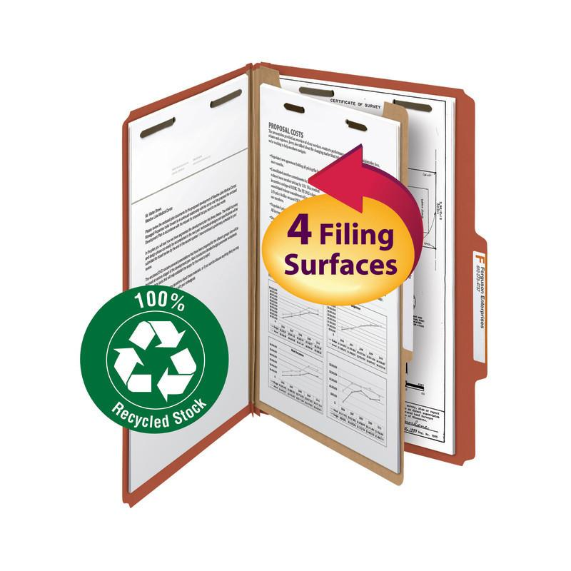 "Smead 100% Recycled Pressboard Classification Folder, 1 Divider, 2"" Expansion, Legal Size, Red, 5 per Pack (18744)"