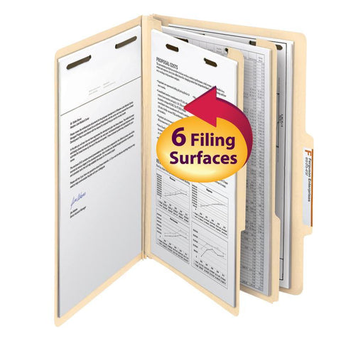 "Smead Classification File Folder, 2 Divider, 2"" Expansion, Legal Size, Manila, 10 per Box (19000)"