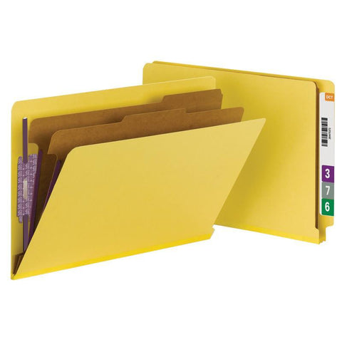 Smead End Tab Pressboard Classification Folder with SafeSHIELD® Fasteners, 2 Dividers, Legal, Yellow (29789)