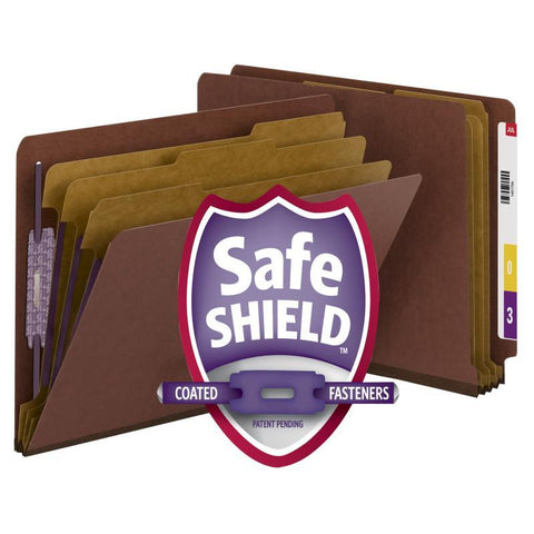 Smead End Tab Pressboard Classification Folder with SafeSHIELD® Fasteners, 3 Dividers, Legal, Red (29865)