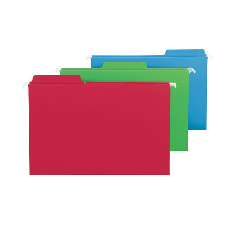 Smead FasTab® Hanging File Folder, 1/3-Cut Built-In Tab, Legal Size, Assorted Colors, 18 Per Box (64153)