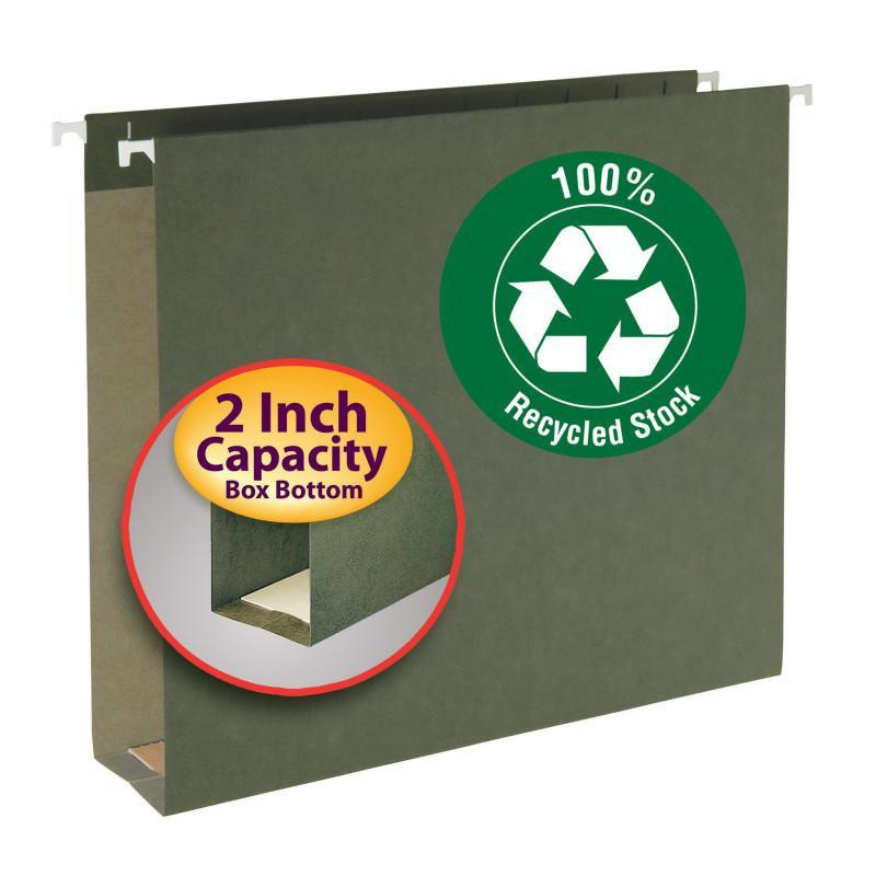 "Smead 100% Recycled Hanging Box Bottom File Folder, 2"" Expansion, Letter Size, Standard Green, 25 per Box (65090)"