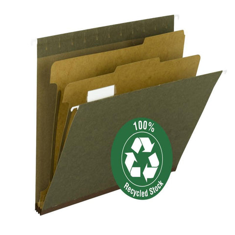 Smead 100% Recycled Hanging Classification File Folder with Tab, 2 Dividers, 1/5-Cut Adjustable Tab, Standard Green Box of 10 (65110)