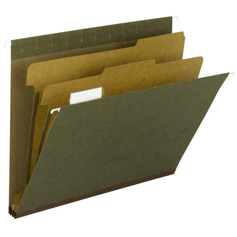 Smead 100% Recycled Hanging Classification Folder with Tab, 2 Dividers, 1/5-Cut Adjustable Tab, Legal, Standard Green Box of 10 (65160)