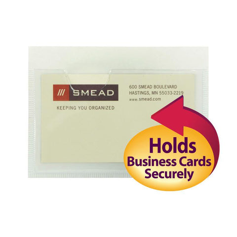 "Smead Self-Adhesive Poly Pocket, Business Card Size (4-1/16"" W x 3""H), Clear, 5"