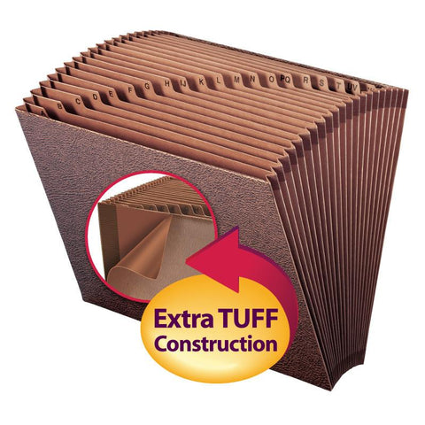 Smead TUFF® Expanding File, Alphabetic (A-Z), 21 Pockets, Letter Size, Redrope-Printed Stock (70425)