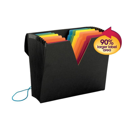 Smead ColorVue™  Expanding File with SuperTab®, 13 Pockets, Flap and Elastic Cord Closure, Letter Size, Black (70722)