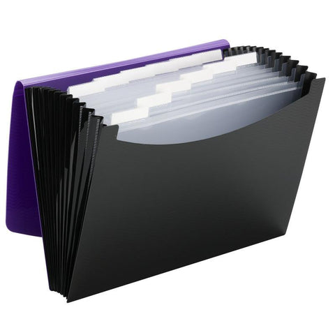 Smead Poly Expanding File, 12 Pockets, Flap and Cord Closure, Letter Size, Purpl