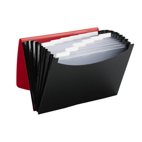 Smead Poly Expanding File, 12 Pockets, Flap and Cord Closure, Letter Size, Red/B