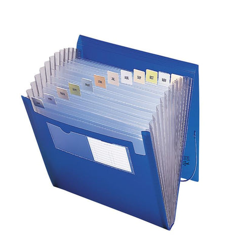 Smead Poly Expanding File, 12 Pockets, Flap and Cord Closure, Letter Size, Blue