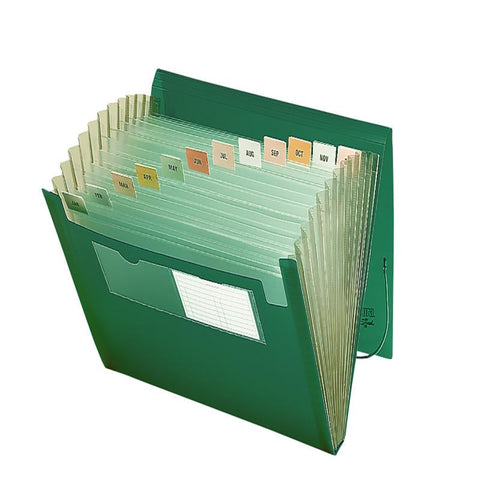 Smead Poly Expanding File, 12 Pockets, Flap and Cord Closure, Letter Size, Green (70878)