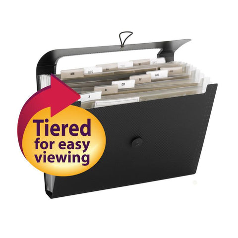 Smead Step Index Poly Organizer, 12 Pockets, Flap and Cord Closure, Letter Size, Black (70901)