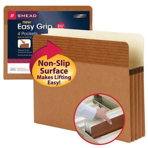 "Smead Easy Grip® File Pocket, Straight-Cut Tab, 3-1/2"" Expansion, Letter Size, Redrope, 4 per Pack (73217)"