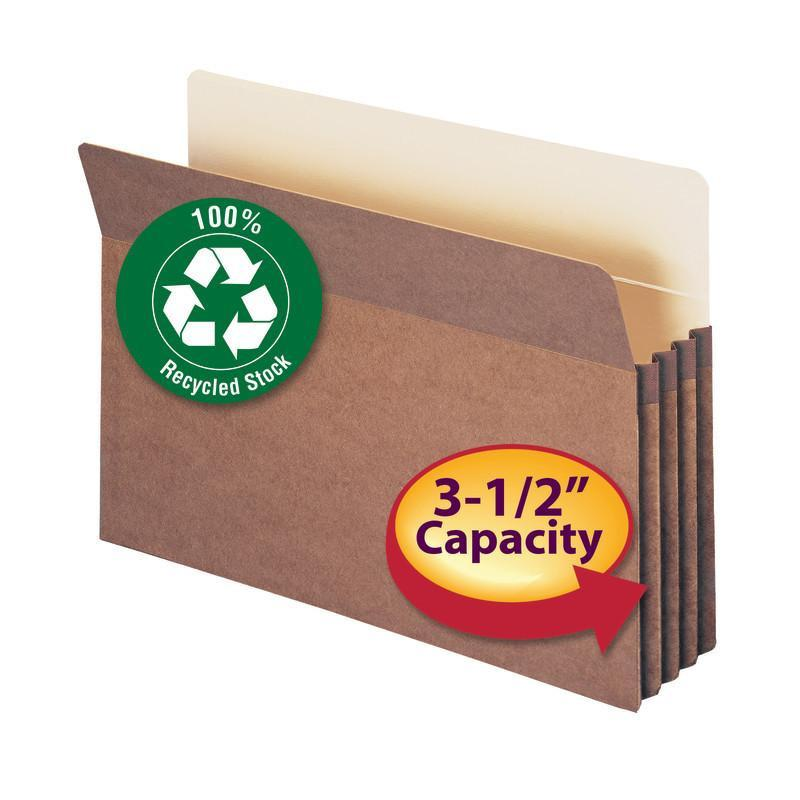 "Smead 100% Recycled File Pocket, Straight-Cut Tab, 3-1/2"" Expansion, Legal Size, Redrope, 25 per Box (74205)"