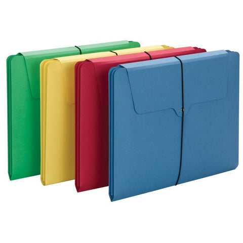Smead Section Wallet , 2 Dividers, Letter Size, Flap with Elastic Closure, Assorted Colors, 4 per Pack (77213)