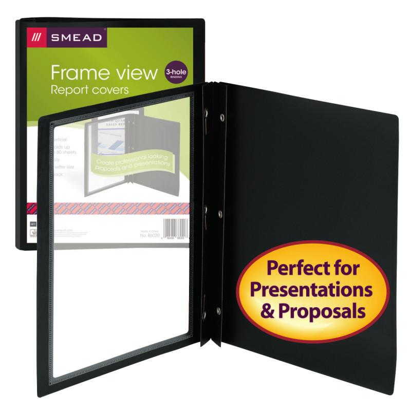 "Smead Frame View Poly Report Cover, Three 1/2"" Fasteners, Side Fastener, Letter"