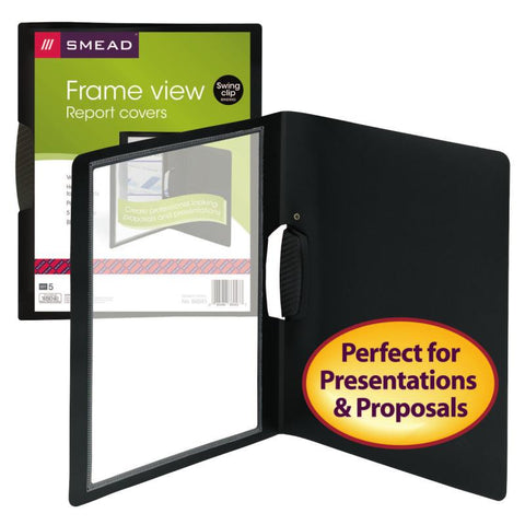 Smead Frame View Poly Report Cover with Swing Clip, Side Fastener, Letter Size (