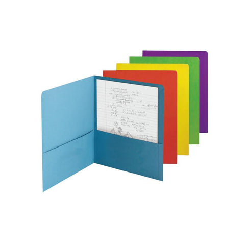 Carton of 50 Smead Two-Pocket File Folder, Letter Size, Assorted Colors, (87863)