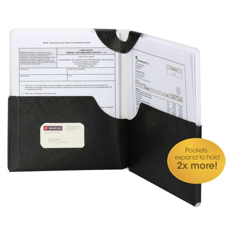Smead Big Pocket Lockit® Two-Pocket Folder, Letter Size, Black, 5 per Pack (87926)