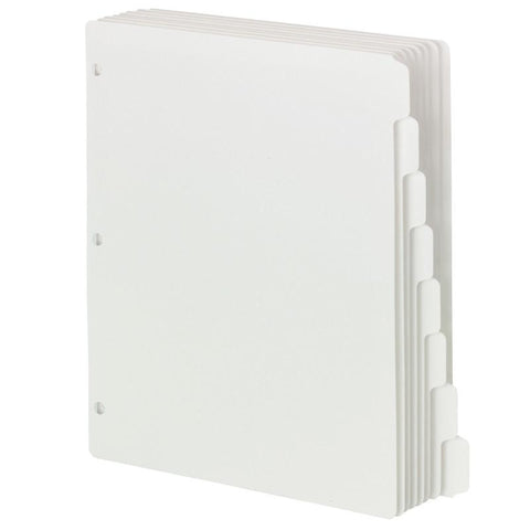 Smead Three-Ring Binder Index Dividers, 1/8-Cut Tabs, Letter Size, White, Box of