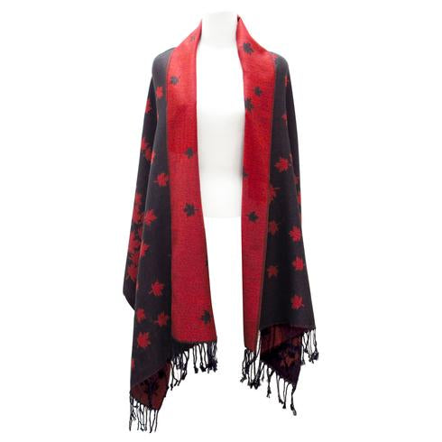 Maple Leaf Woven Reversible Shawl