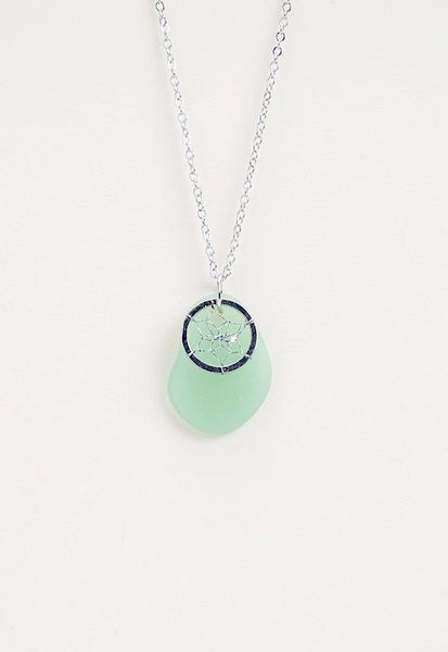 Dream Catcher Necklace seafoam green