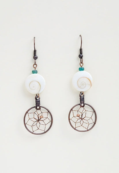 Sea Dream Catcher Earrings - mother of pearl swirl shell