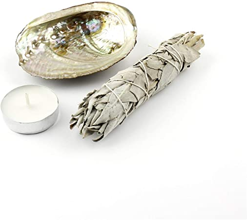 WHITE SAGE AND ABALONE SHELL SET