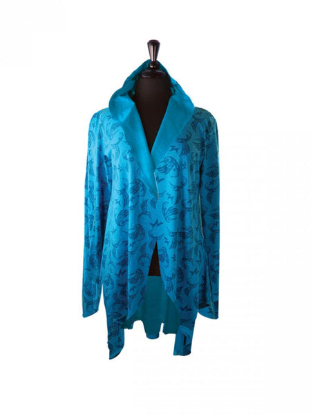 Bill Helin Hummingbird All Over Print Jacket- Turquoise (Large/XLarge)