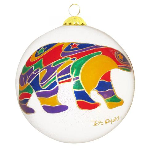 Dawn Oman Alpha Bear Glass Ornament