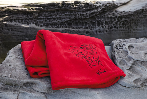 """Hummingbird"" Red Velura Throw"
