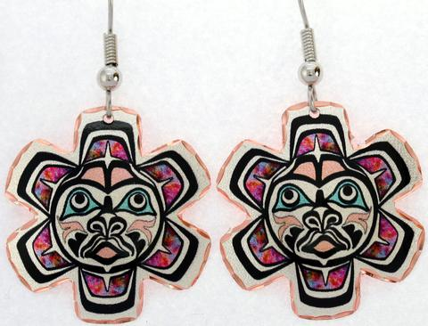 NW Indigenous Art Sun Colorful Earrings