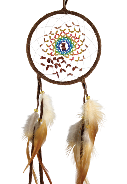 "4"" Energy Flow Dream Catcher Brown with goldstone"