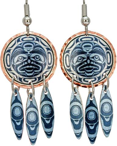 Andy Everson Confession to the Moon Artist Collection Copper Multiple Earrings