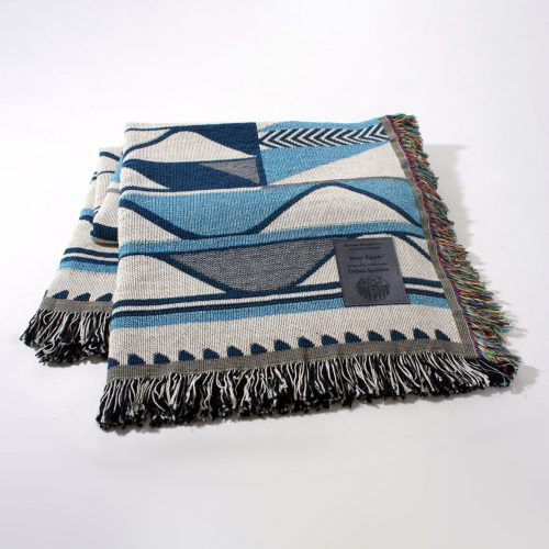 """River Ripples"" Cotton Throw by Debra Sparrow"