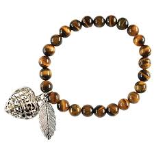 Aromatherapy Heart Bracelet - Gold Tiger-eye
