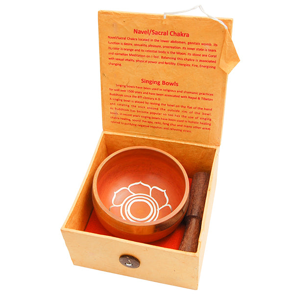 SINGING BOWL GIFT SET - ORANGE (3 INCH)
