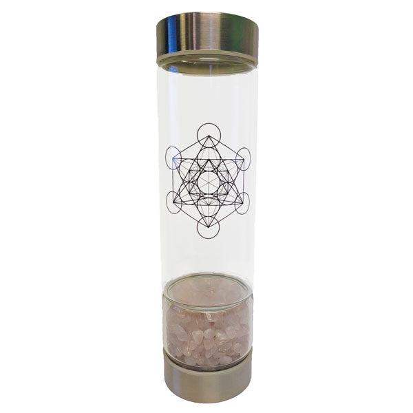 Crystal Infuser Water Bottle (500 ml) - Rose Quartz