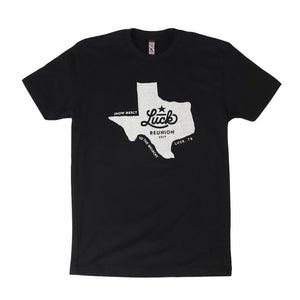 Black tshirt featuring a Luck Reunion logo in the shape of texas