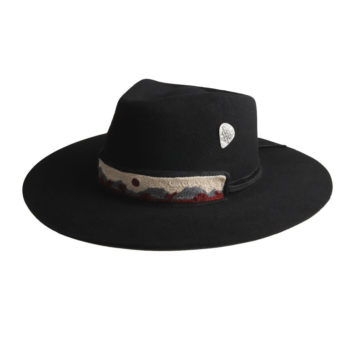 black cowboy hat with cross stitched hat band