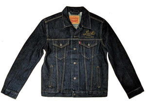 denim levis jacket with luck texas embroidered on the chest