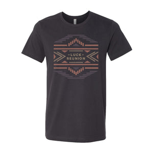 2019 Luck Reunion t-shirt printed on a grey t-shirt with southwestern themed Luck Reunion design on the front