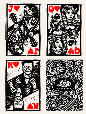 Luck Reunion screen printed heart suite card print