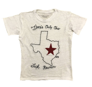 "white t-shirt with ""there's only one luck texas"" stitched design"
