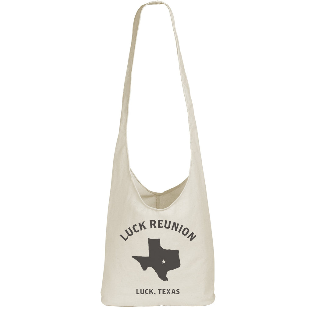 slouchy canvas tote bag with luck texas design