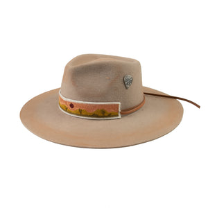 distressed off white cowboy hat with cross stitched hat band