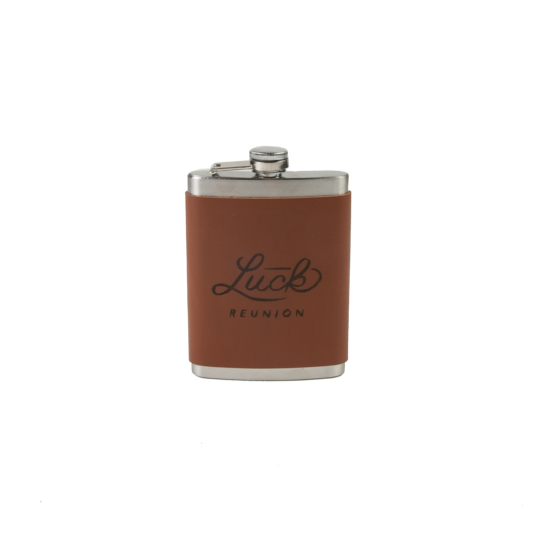 stainless steel flask with branded leather luck reunion wrap